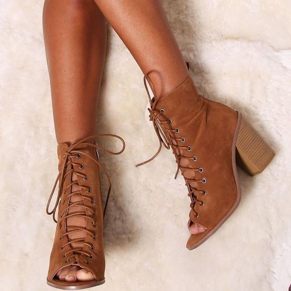 Avanti brown suede peep toe ankle booties